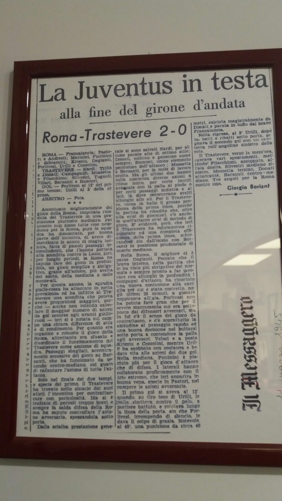 ritaglio giornale - roma trastevere